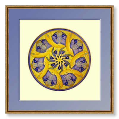"""Die Kundin schrieb: """"Ich bin noch ganz überwältigt. Es kam heute an, dein wunderbares Mandala. Was für ein Geschenk, ich bin noch ganz überwältigt und sprachlos. Sowas Grandioses! Ich sitze noch vor Aufregung, kann gar nicht aufstehen... Daaaanke!"""""""