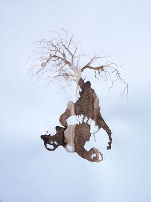 Last  Brou de noix, café, encres, sciure  sur papier canson 65 x 50 cm