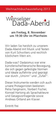 Handzettel zum Dada-Abend 2013