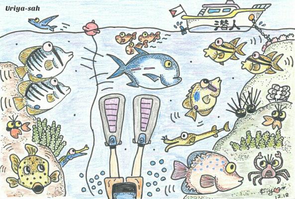 石垣島 ダイビングショップ 潜人(うりやーさー)おっとうイラスト集2