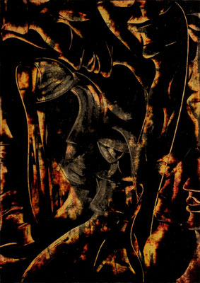 "Feuerzeit, Papier, 29,7 x 42 cm, 11,7""x16,5"""