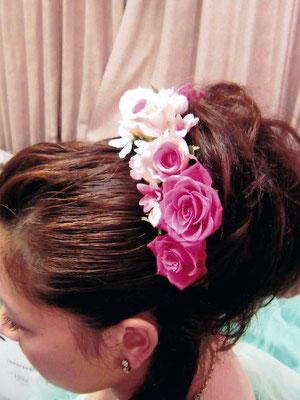 生花 花嫁様のヘアスタイル