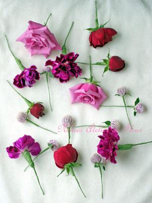 生花 紫のバラのバッグ型ブーケ ヘアオーナメント