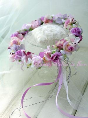 アーティフィシャルフラワー ラベンダーカラーのラウンドブーケに合わせて作ったお花冠
