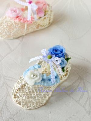 Babyshoes ベビーシューズ 赤ちゃんのお誕生のお祝いに ブルー系のプリザーブドフラワーで