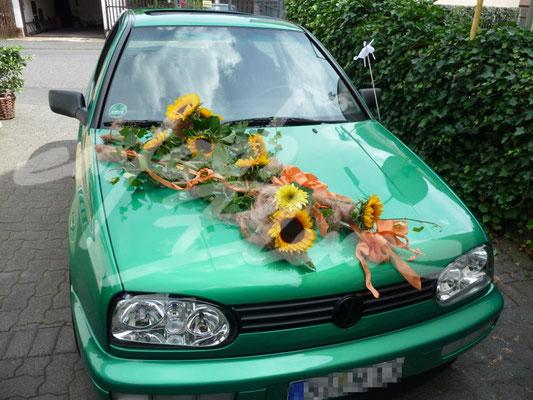 Hochzeits Autoschmuck Sommerlich Einfach Blume