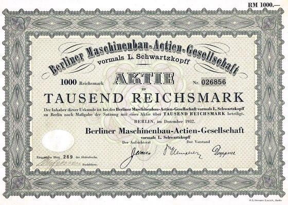 BMAG-Aktie von 1932