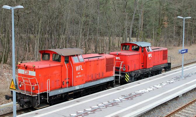 26.02.2016: WFL-Loks 9 und 19, ehemalige 346 der DR/DB aus dem Wege nach Kablow