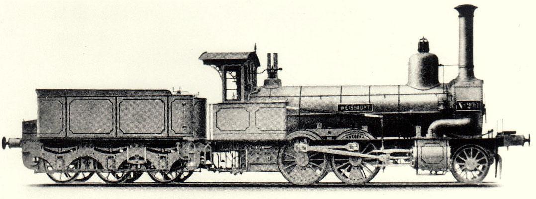 """Eine der ersten Schwartzkopff-Loks war 1867 die 1'B Güterzuglok """"Weishaupt"""" für die NME mit der Fabriknummer 12"""