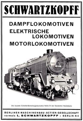 Werbung mit Lok 01 110 für die Deutsche Reichsbahn, 1935