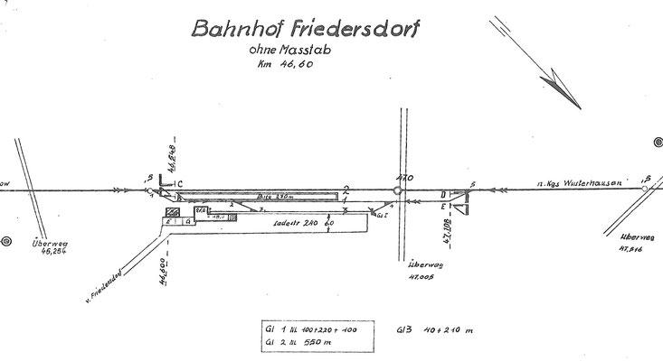 1982: Gleisplan Bahnhof Friedersdorf
