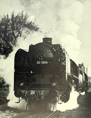 Probefahrt der 50 1304 auf dem BMAG-eigenen Gleis, 1941