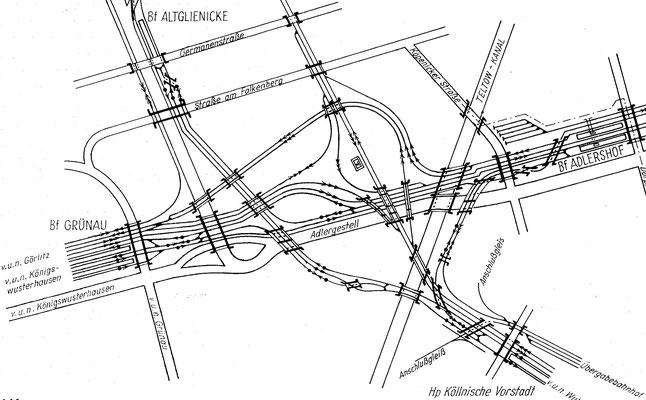1962: Gleisplan vom Grünauer Kreuz nach Ausbau des Berliner Aussenrings mit S-Bahn-Strecke nach Flughafen Schönefeld
