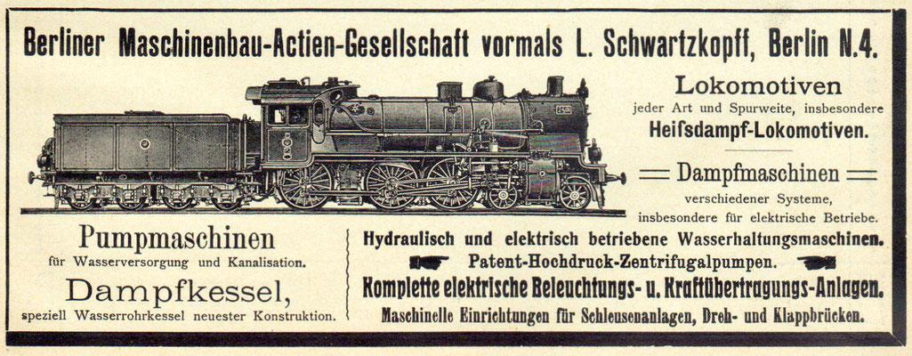Werbung für verschiedene Produkte der BMAG mit Lok 2401 Elberfeld, eine der ersten P8, mit Windschneidenführerhaus, 1910