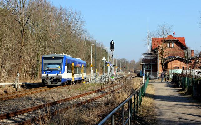Ausfahrt VT 012 aus Bhf Zernsdorf nach KW am 03.03.2018