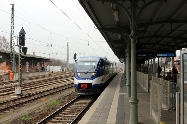 Kurz vor dem Übergang des Bahnbetriebs von der OEDG auf die NEB wurde kurzzeitig der dreiteiliger NEB-Talent 0011 eingesetzt, KW am 03.12.2014