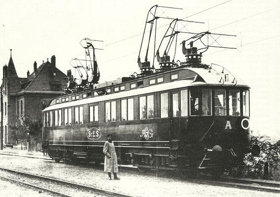 1903: Elektrischer Schnellfahrwagen der AEG (Wagen A) in Zossen