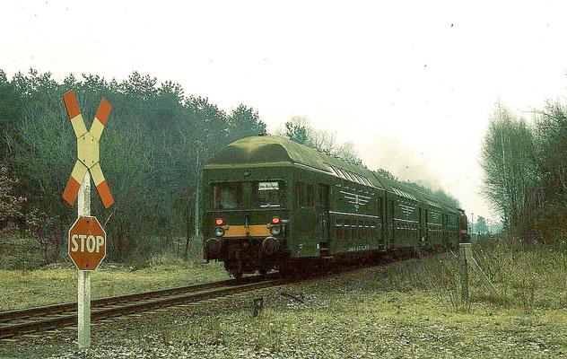 Ein reiner DR-Zug mit vierteiliger Doppelstockgarnitur und V100 (201) in Kablow: März 1991