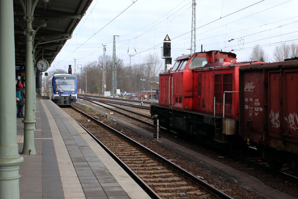 RB 36 mit VT 009 ist im Bahnhof Königs Wusterhausen angekommen, ebenso ein Braunkohlezug aus der Lausitz, den die 298 309 der DB in den Hafen bringen wird, 25.02.2015