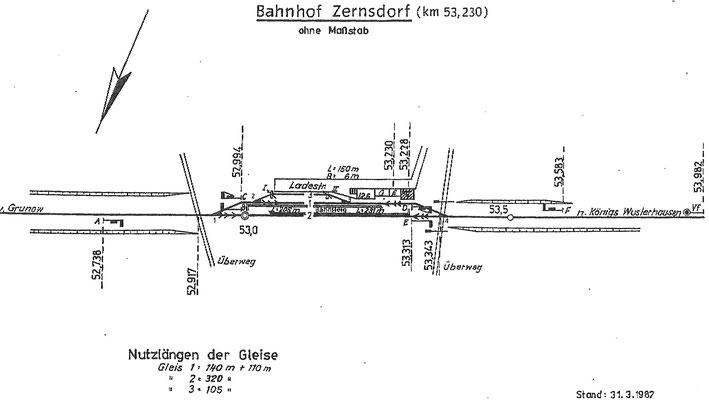 1982: Gleisplan Bahnhof Zernsdorf