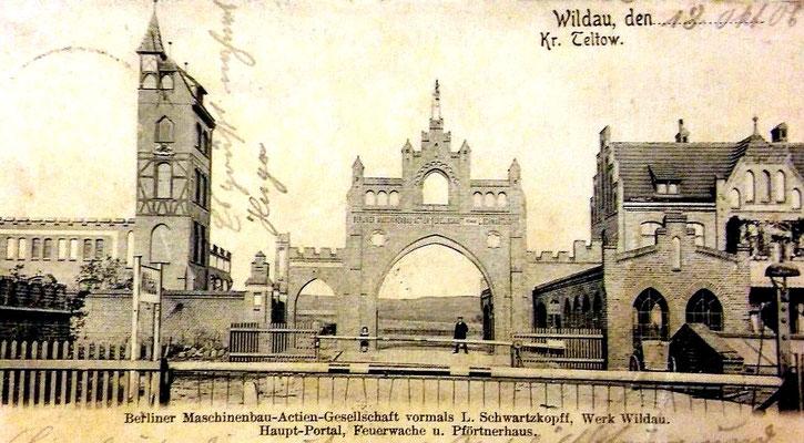 Eingangstor zur BMAG am Bahnhof Wildau 1905