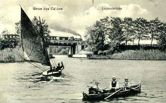1918: Lankensee mit Brücke und Dampfzug