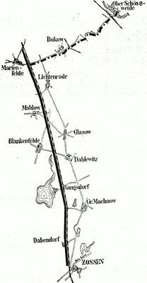 1903: Die elektrifizierte Versuchsstrecke Marienfelde-Zossen wurde vom Kraftwerk Ober-Schöneweide mit Strom versorgt