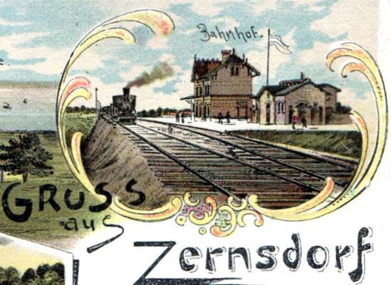1901: Lithograhie Bahnhof Zernsdorf (Postkarte)