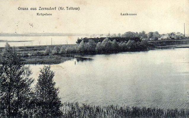 1920: Dampfzug mit Lok T9 Richtung Beeskow auf dem Damm am Lankensee