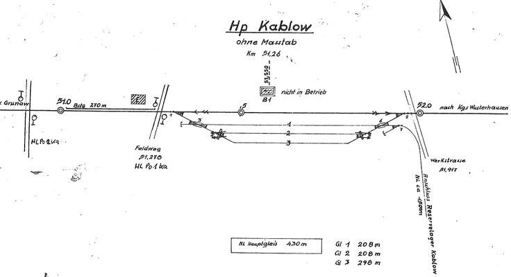 1982: Gleisplan Haltepunkt Kablow