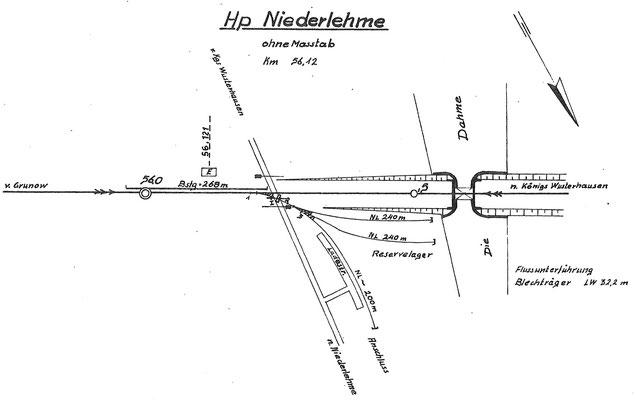 1982: Gleisplan Haltepunkt Niederlehme