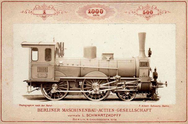 Die 1000. Schwartzkopff-Lok, gefertigt 1879 am Standort Berlin, Chausseestrasse