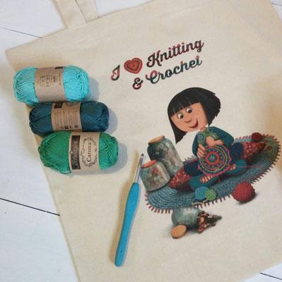Tote bag I love knitting and crochet