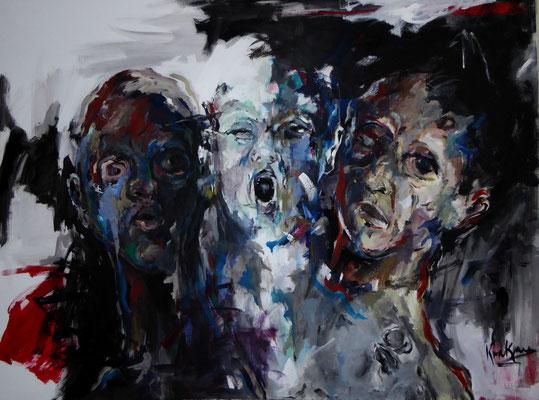 Trio Infernale, 120 x 160  Acryl a. Lw.
