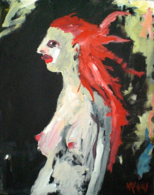 Rote Haare, 100 x 80  Acryl a. Lw.