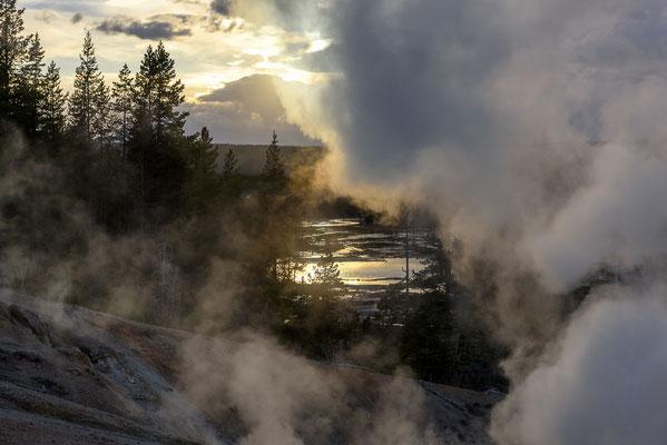 Geysire bei Sonnenuntergang - Yellowstone National Park, Wyoming