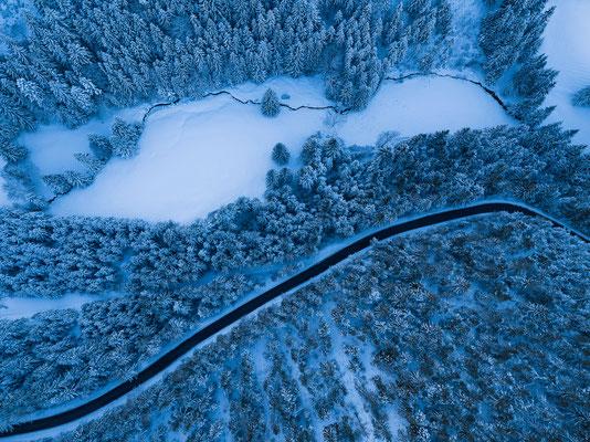Verschneite Bäume aus der Vogelperspektive