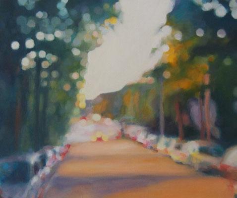 Meine Strasse, Oelauf Leinwand, 50 x 60, 2020 (verkauft)