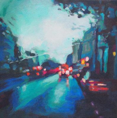 aus dem Taxi, Acryl auf Leinwand 30 x 30, 2014