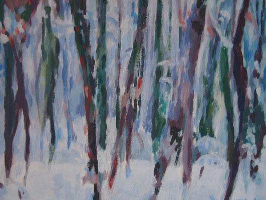 Winterwald, Acryl auf Karton 25 x 33, 2014