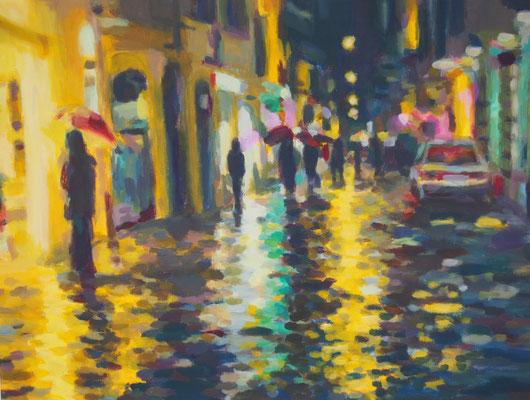 Nachtlichter, Acryl auf Papier 48 x 36, 2015 (verkauft)