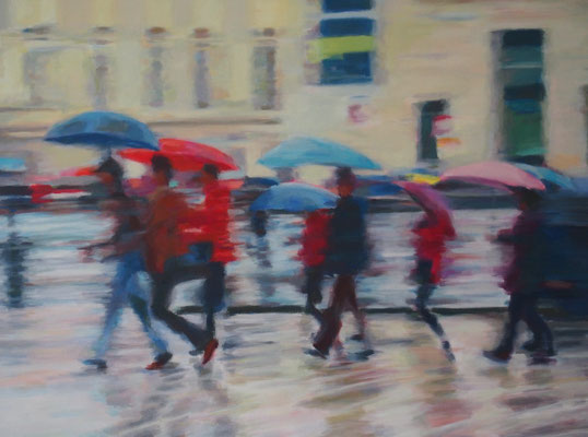 Unterwegs im Regen, Acryl auf Leinwand 60 x 80, 2016 (verkauft)