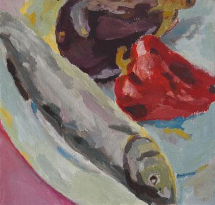 Stillleben I, Acryl auf Karton 30 x 31, 2012 (verkauft)