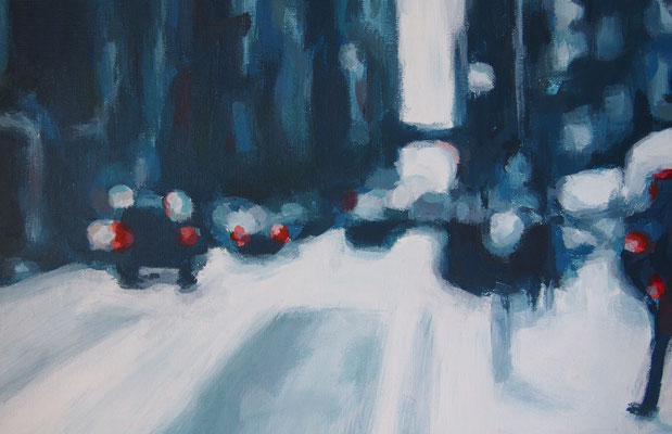 Stadtverkehr, Acryl auf Malplatte 20 x 30, 2014 (verkauft)