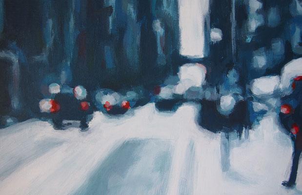 Stadtverkehr, Acryl auf Malplatte 20 x 30, 2014