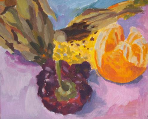 Stillleben II, Acryl auf Karton 21 x 25, 2012 (verkauft)