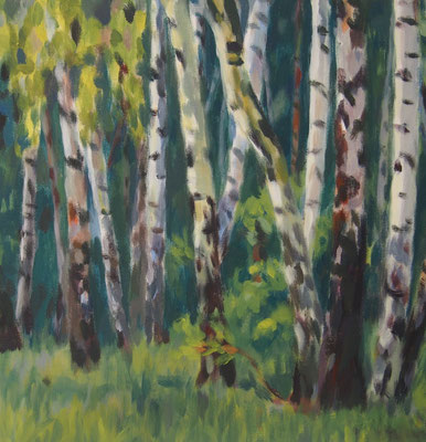 Birkenwald, Acryl auf Leinwand 40 x 40, 2014