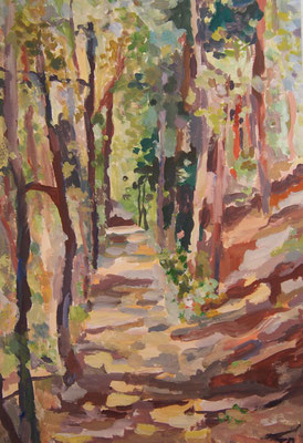 Waldweg, Acryl auf Karton 20 x 30, 2013