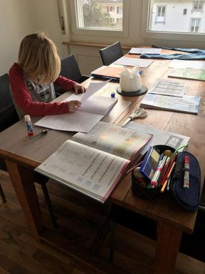 Joe (Junior E) ist auch nach dem Training noch fleissig. Die Hausaufgaben müssen schliesslich trotzdem gemacht werden, auch wenn der Unterricht noch nicht stattfindet.