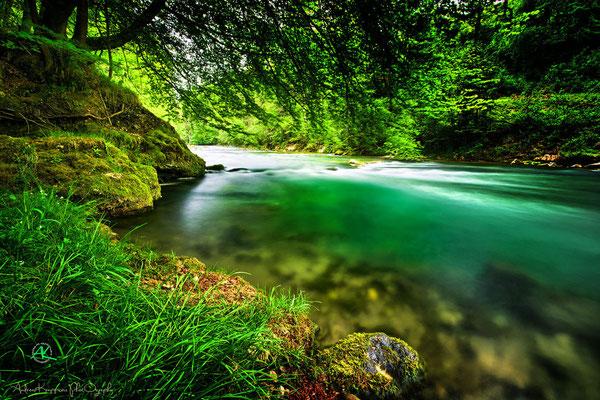 'Mangfall smaragdgrün durch die Algen am Grund'